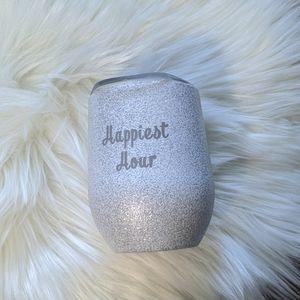 Happiest hour travel wine mug silver & glitter